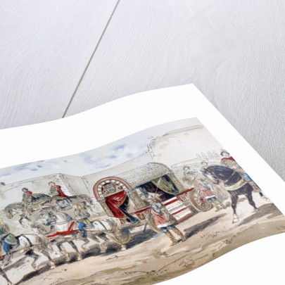 A horse-drawn royal coach of the 9th century by Armand Jean Heins