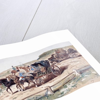 A Postillion mounted on a Carriage Horse by Armand Jean Heins