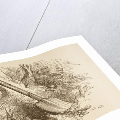 Illustration of a spade dug halfway into the ground by Sir John Gilbert