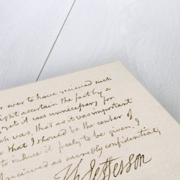 Handwriting and signature of Thomas Jefferson by American School