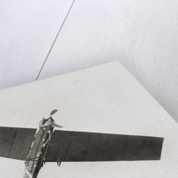 Arthur Latham's monoplane in the air in 1909 by Anonymous