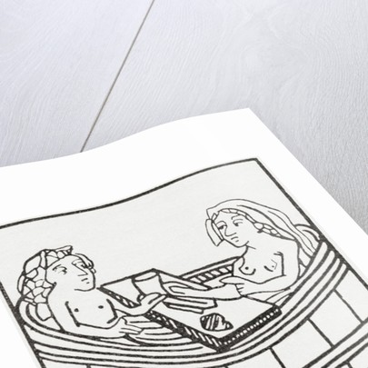 Man and woman together in a bathtub eating and bathing by Anonymous