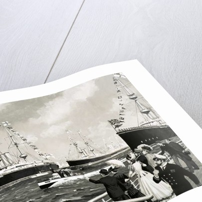 A small, 100-foot craft dashed between the formidable warships during the 1897 Naval review by English School