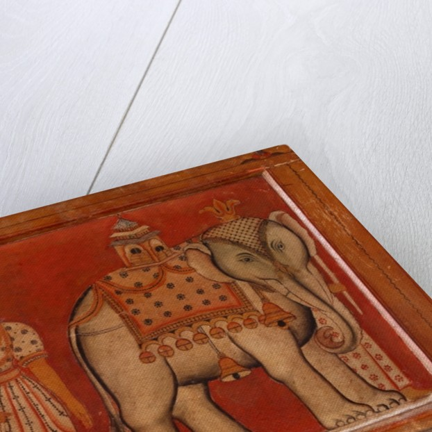 Wall painting of an elephant in the Subdharama Temple, Dehiwala by Sri Lankan School
