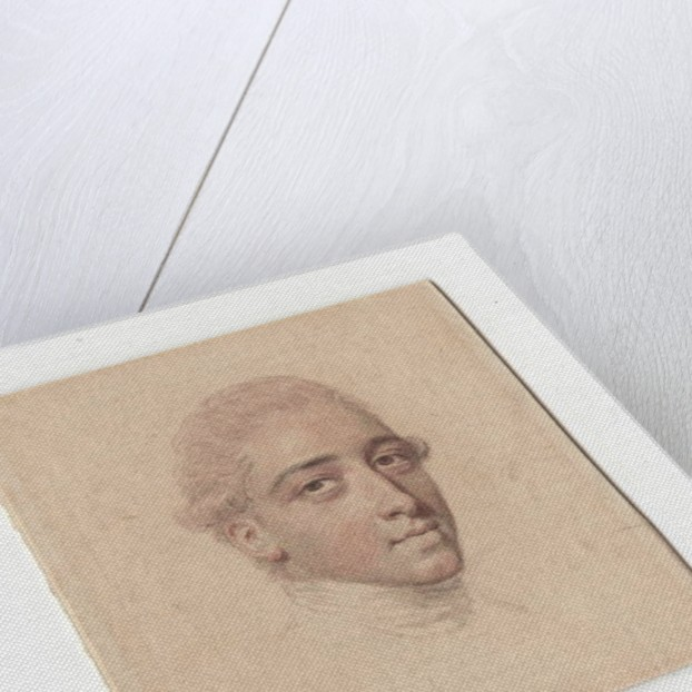 Portrait drawing of an unknown gentleman, wearing stock, his wig pink-powdered by John Smart
