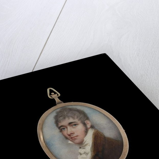 A Gentleman, wearing brown coat, white waistcoat and white tied cravat, his hair powdered, c.1795 by Andrew Plimer