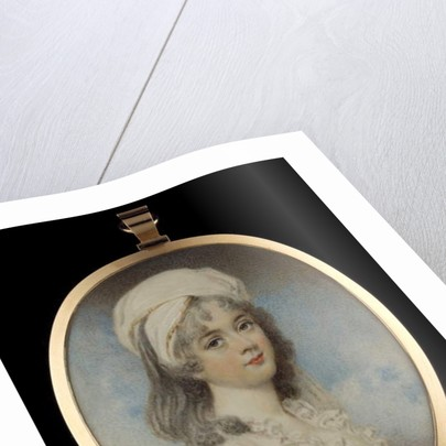 A portrait miniature of a young lady, wearing white dress, her hair in white bandeau by William Wood