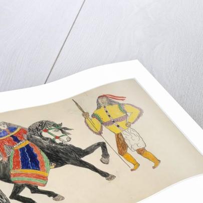 Woman on black horse greets man by Frederick Gokliz