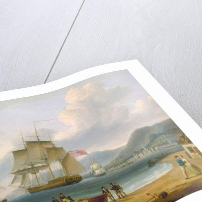 Merchant Ships Under Sail and at Anchor off a Town by William Anderson