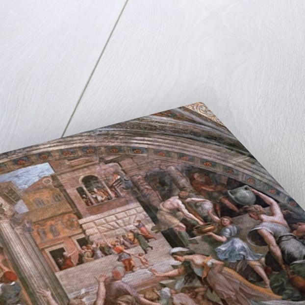 Fire in the Borgo by Raphael & Giulio Romano (1492/99-1546)