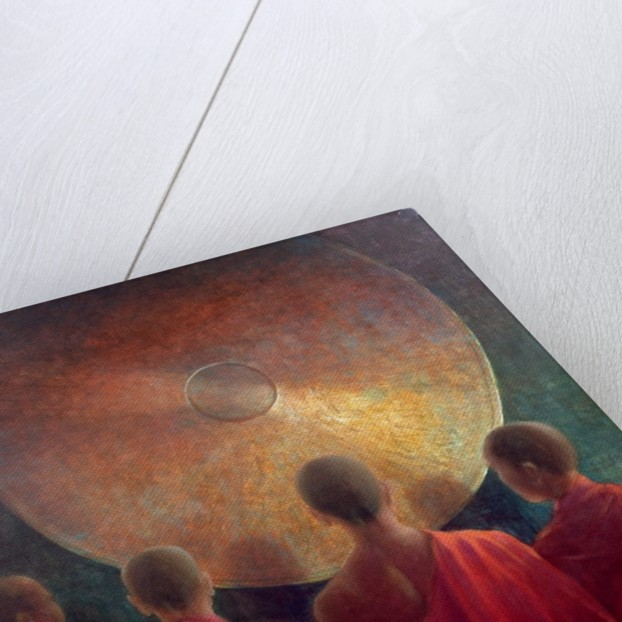 Young Monks with Gong by Lincoln Seligman