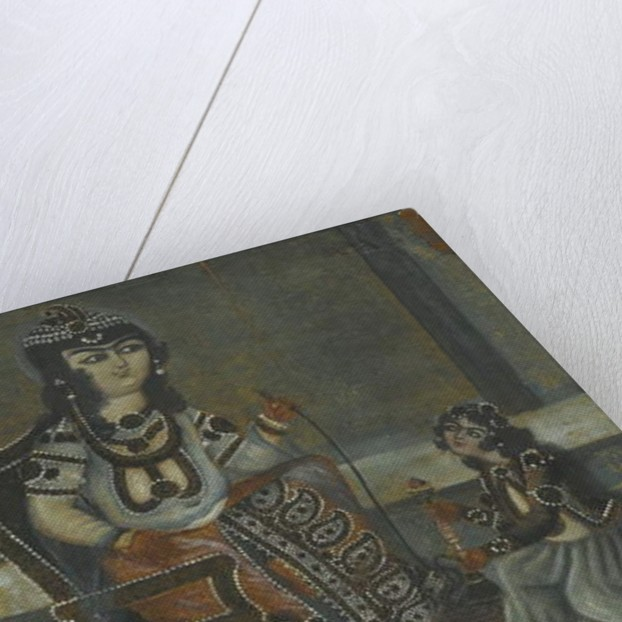 Female Attendant Offering a Waterpipe to a Princess Seated on a Throne by Iranian School