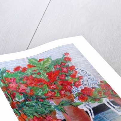 Geraniums and Petunias on the Terrace by Joan Thewsey