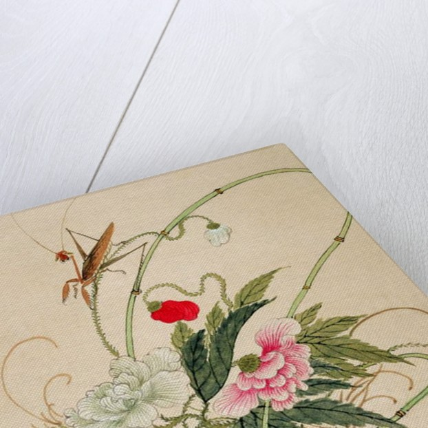 One of a series of paintings of flowers and insects by Hua Liu