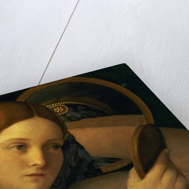 Young Woman at her Toilet, detail of the face by Giovanni Bellini