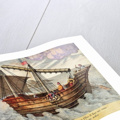 A Ship from China and Java rigged with mat sails by English School