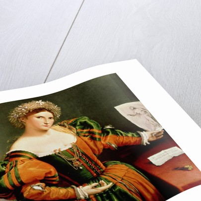 A Lady with a Drawing of Lucretia by Lorenzo Lotto