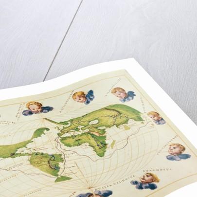 Map of Magellan's Voyage Around the World by Battista Agnese