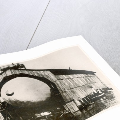 The prototype airship Zeppelin LZ1 in floating hangar in the Bay of Manzell, Lake Constance, Friedrichshafen by German Photographer