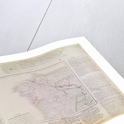 Map of Galicia with the route of the French army and a log by French School