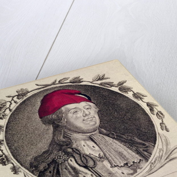 Louis XVI wearing a phrygian bonnet presented to him by the nation by French School