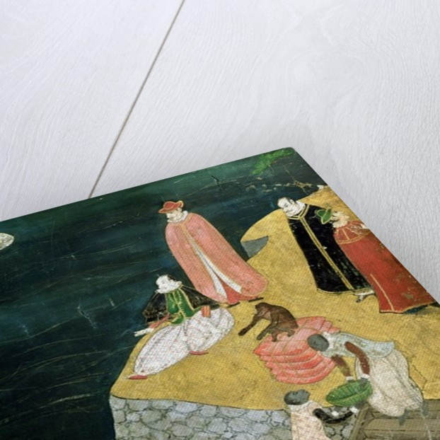 The Arrival of the Portuguese in Japan, detail of loading cargo from a Namban Byobu screen by Japanese School