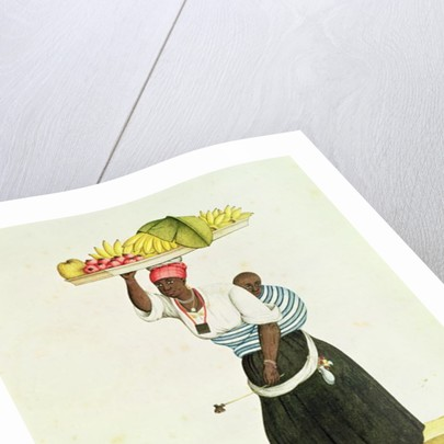 A Woman Carrying a Tray of Fruit on her Head by Carlos Juliao