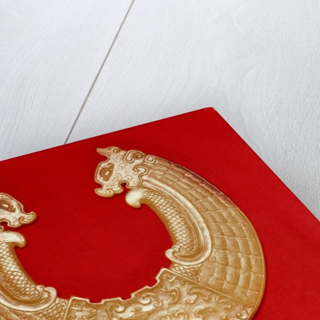 Plaque with two dragons and a Tao-tie mask by Chinese School