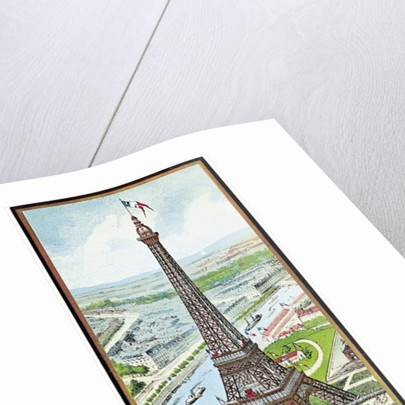 Postcard depicting the Eiffel Tower at the Exposition Universelle by French School