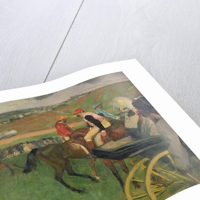 The Race Course - Amateur Jockeys near a Carriage by Edgar Degas