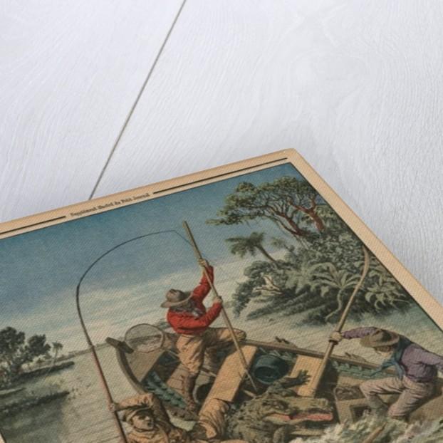 A fisherman astride a crocodile by French School