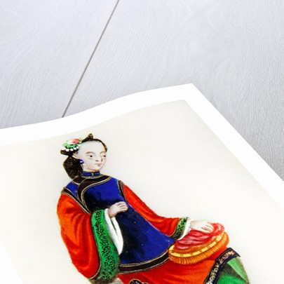 A Chinese Woman darning, Qianlong Period by Chinese School