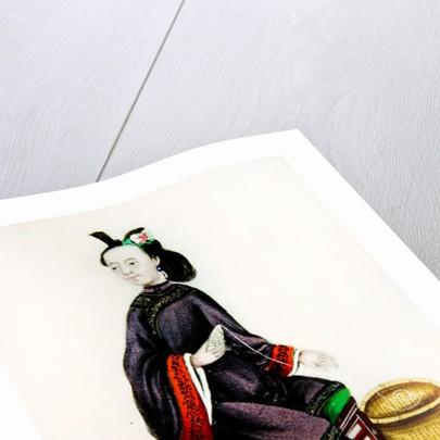A Chinese Woman making a bobbin, Qianlong Period by Chinese School