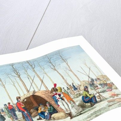 Bivouac of Russian troops on the Champs Elysées, Paris by French School