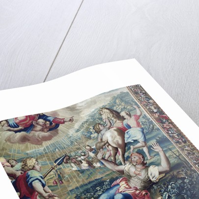 Tapestry depicting the Acts of the Apostles, the Conversion Saint Paul (detail of Saint Paul stretched out on the floor, arms raised to the sky) by Raphael