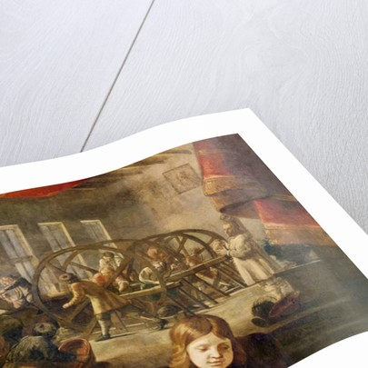 Detail from a portrait of precious stone cutter Dyonis Miseroni and family, showing engraving on glass in his workshop by Karel Skreta