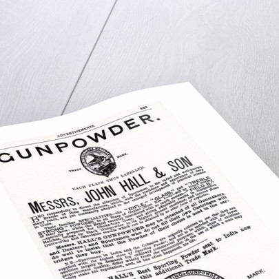 Advertisement for Gunpowder by Messrs. John Hall & Son by English School