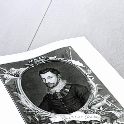 Portrait of Sir Francis Drake engraved by Jacobus Houbraken by English School