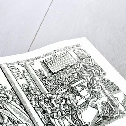 Schoolroom scene in Tudor times by English School