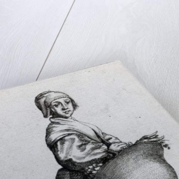 Maid returning from market by Wenceslaus Hollar