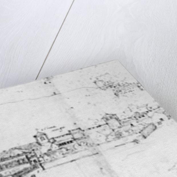 Sketch of the cityscape of Granada by Spanish School