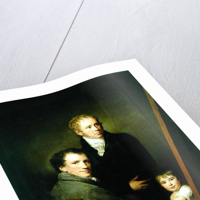 Self portrait with the Foster Daughter Lina Groger and the painter Heinrich Jakob Aldenrath by Friedrich Carl Groger
