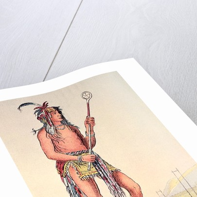 Sioux ball player Ah-No-Je-Nange, 'He who stands on both sides' by George Catlin