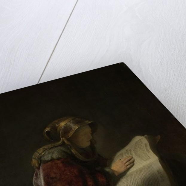 An Old Woman Reading, Probably the Prophetess Hannah by Rembrandt Harmensz. van Rijn