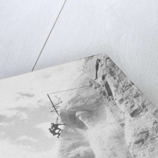 Gutzon Borglum inspecting work on Washington at Mount Rushmore by American Photographer