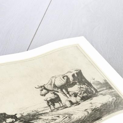 Shepherd and shepherdess with cattle by Adriaen van de Velde