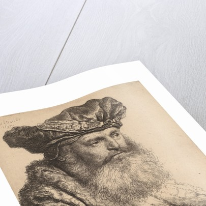 Bearded Man in a Velvet Cap with a Jewel Clasp by Rembrandt Harmensz. van Rijn
