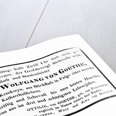 Johann Wolfgang von Goethe's Death Notice by Johann Wolfgang von Goethe
