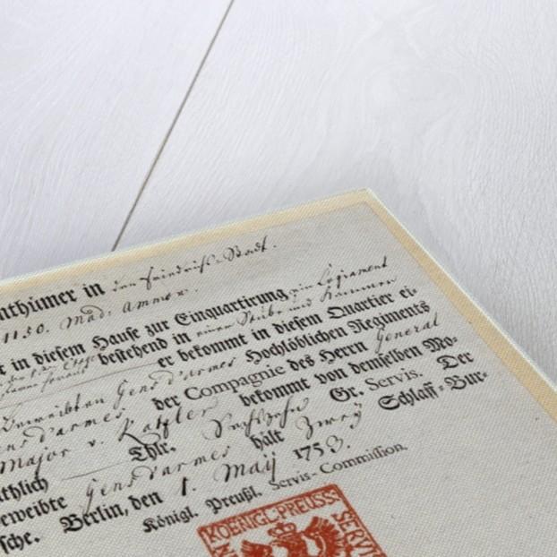 Billeting voucher by German School