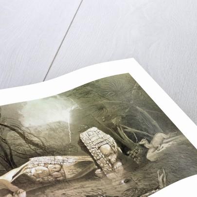 Broken Mayan idol at Copan, Guatemala by Frederick Catherwood